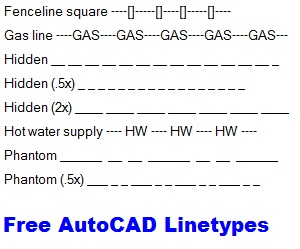 free autocad linetypes