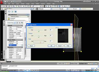 Autocad attached image with fade set to 70 percent