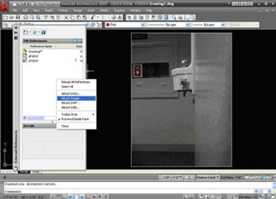 Autocad showing how to attach an image using the IM command